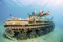 Sunken Wreck Of A Tank In Aqab...