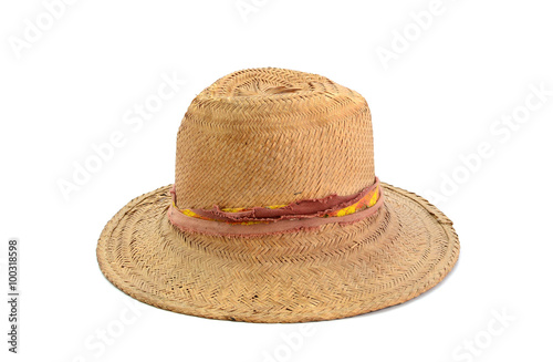 6c7a45f89b709 old straw hat isolated on white background - Buy this stock photo ...