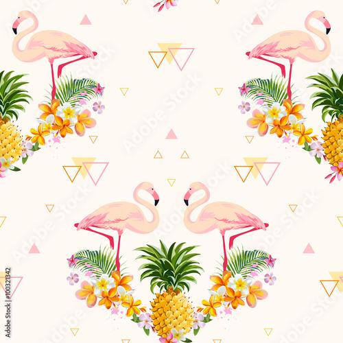 geometryczny-ananas-i-flamingo-tlo-szwu