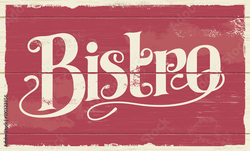 Photo Bistro restaurant hand drawn calligraphic sign design