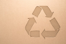 Recycle Sign On A Corrugated Cardboard
