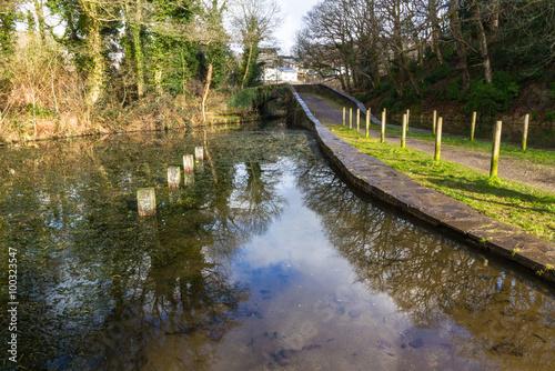 Fotografie, Obraz  Neath Canal with Skew Bridge, Neath Canal, Aberdulais