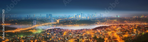 Fotografering Panorama of Istanbul and Bosphorus bridge at night