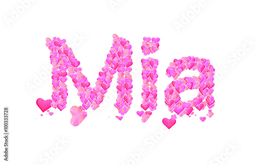 Photo  Mia female name set with hearts type design