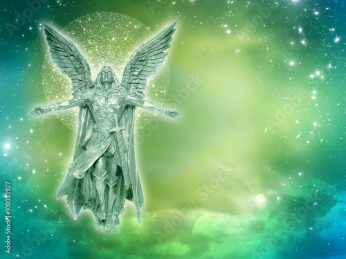 Photo archangel with stars and mystical divine sky