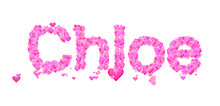 Chloe Female Name Set With Hearts Type Design
