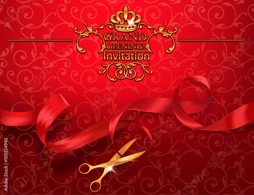 Red Grand Opening Invitation Card With Scissors And Red