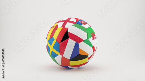 """Photo  """"  3D soccer ball with  country flags of the participants for Euro 2016"""