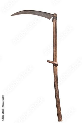 Fotografía Scythe isolated on white. Old farm implement.
