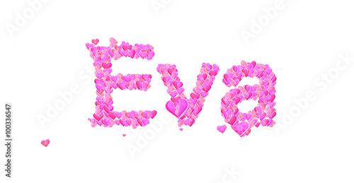 Valokuvatapetti Eva female name set with hearts type design