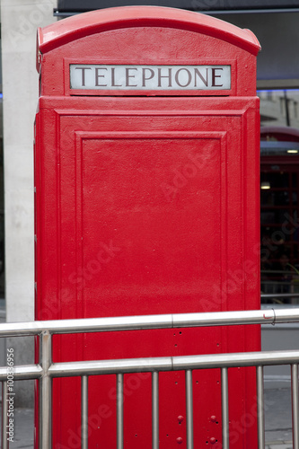 Poster London Traditional Red Telephone Box, London with Copyspace