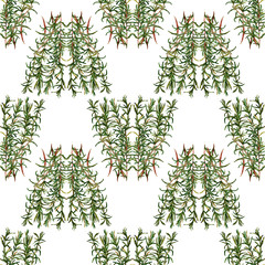 FototapetaSeamless handmade floral pattern. Bunch of rosemary. Isolated on a white background. Fabric texture. Herbs vintage design. Wallpaper.