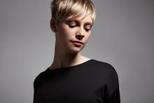 Pretty Short Haired Blond Woman's Portrait