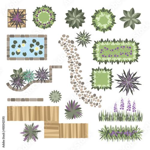 Fotobehang Wit set of vector elements for landscape design
