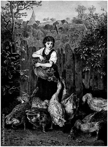 Peasant feeding Poultry - Fermière - 19th century Canvas-taulu