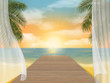 View of the sea beach on sunset and jetty. Vector travel background.
