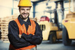 Smiling worker in front of forklift