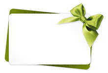Gift Card With Green Ribbon Bo...