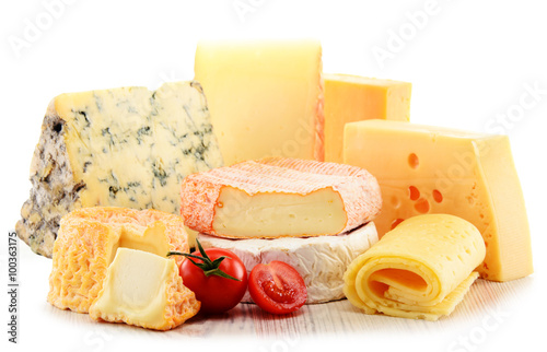 Fotografie, Obraz  Different sorts of cheese isolated on white background