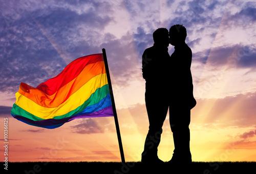 Fotografie, Obraz  Silueta šťastné gay líbání