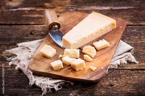 Fotografie, Obraz  parmesan cheese on wooden board