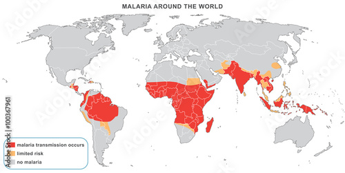 Foto op Canvas Wereldkaart Malaria disease around the world, 2014. Warning map for travelers with dangerous areas recommended for vaccination. Fully editable vector map.