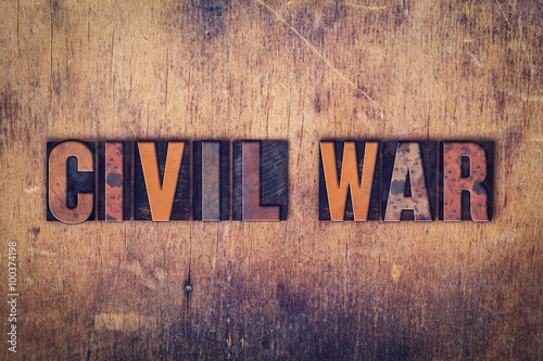 Fotografie, Tablou  Civil War Concept Wooden Letterpress Type