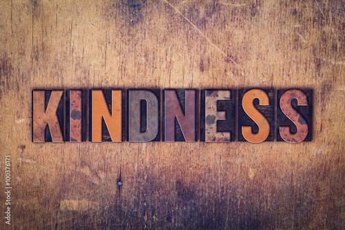 Kindness Concept Wooden Letterpress Type Canvas Print