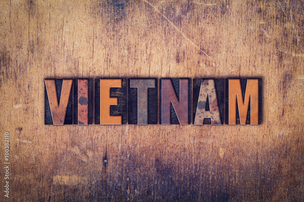 Photo  Vietnam Concept Wooden Letterpress Type