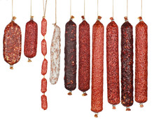 Selection Salami Sausages Isol...