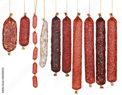 selection salami sausages isolated on white background Canvas-taulu