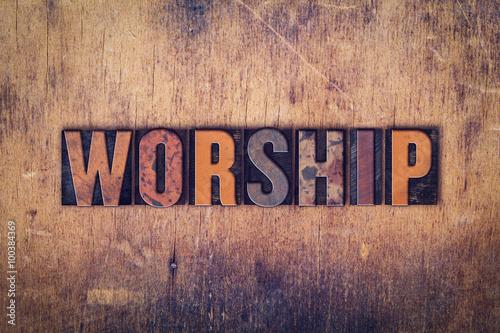 Worship Concept Wooden Letterpress Type Canvas Print