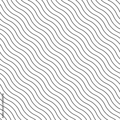 Fotografie, Obraz  Abstract seamless background with wavy, waving lines. Can be rep