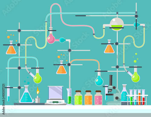 Fotografie, Obraz  Medical laboratory. Vector flat illustration