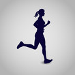 running girl, icon, vector illustration
