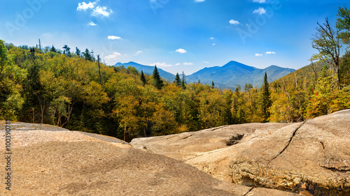 Algonquin Peak as viewed from Indian Falls along Mt Marcy hiking trail Canvas Print