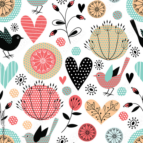 Romantic vector seamless pattern
