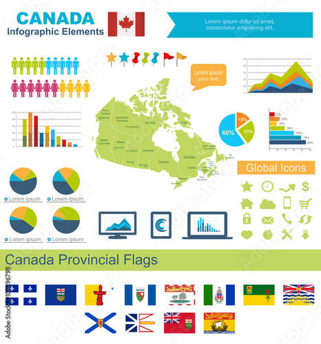 Complete Map Of Canada.Canada Infographic Elements Include High Detailed Map Of Canda And