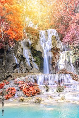 Rainforest waterfall, Tat Kuang Si Waterfall at Luang Prabang, Laos. - 100397300