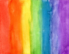 Abstract Striped Rainbow Watercolor Background