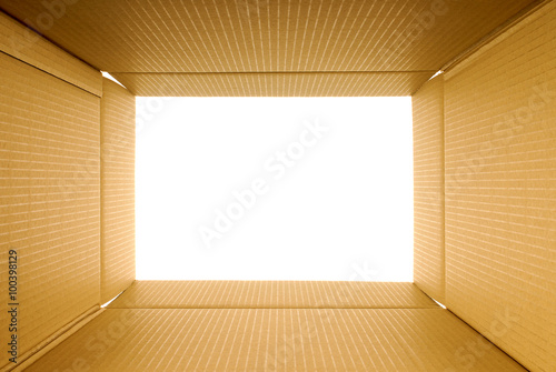 Cardboard box frame view from inside, copy space Fototapet