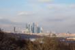 Панорама зимней Москвы. Вид с верху. Россия.
