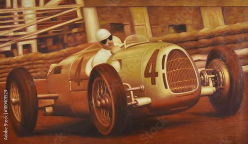 Valokuva  Oldtimer Gemälde Autorennen Motorsport Rennszene retro
