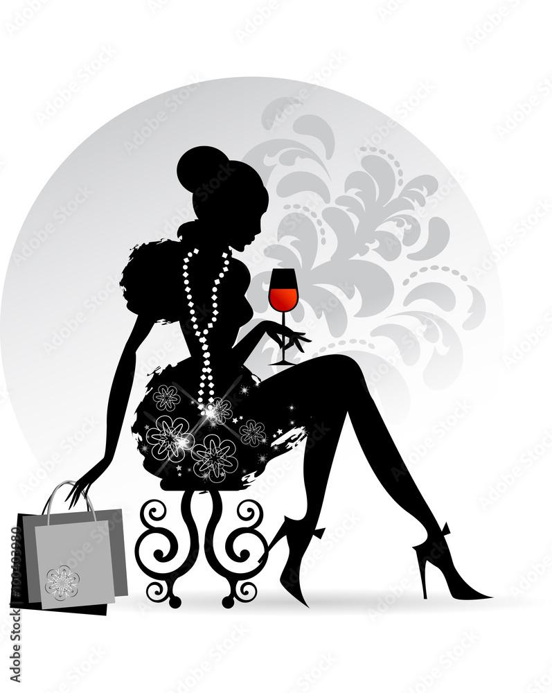 Fototapeta Elegant Lady - Red Wine