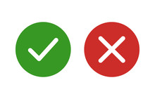 Checkmark And X Or Confirm And Deny Flat Color Icon For Apps And Websites.