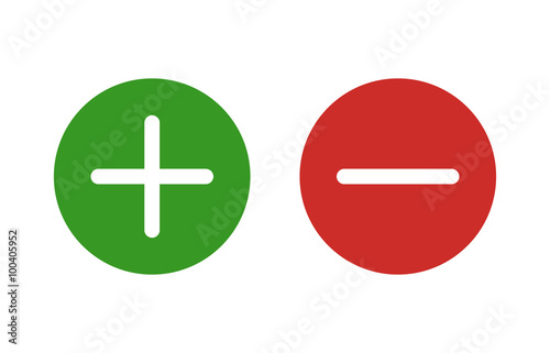Photo  Plus and minus or add and subtract flat color icon for apps and websites