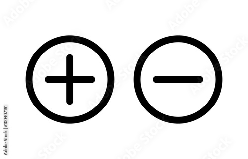 Fotomural Plus and minus or add and subtract line art icon for apps and websites
