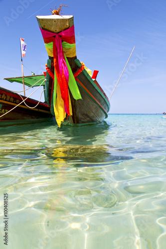 prow thailand   asia isle blue    pirogue    a sea Fotobehang