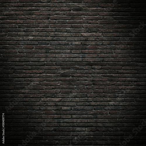 Poster Baksteen muur Part of the old, black brick wall. Mockup