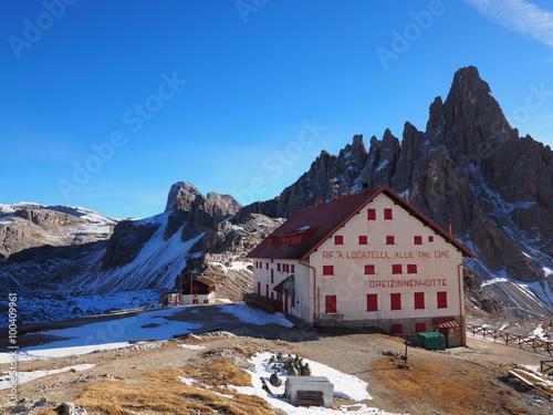 Fotografie, Obraz  Drei Zinnen Hütte - Dolomiten